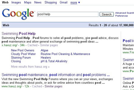 Google sitelinks for Pool Help Forum